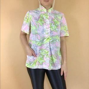 Vintage 1960s psychedelic art nouveau blouse M